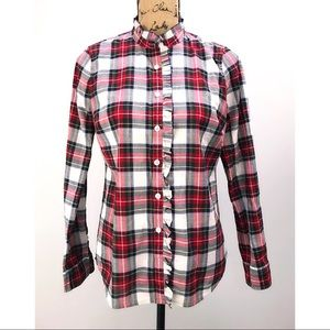 JCrew White & Red Plaid Ruffle Button Up